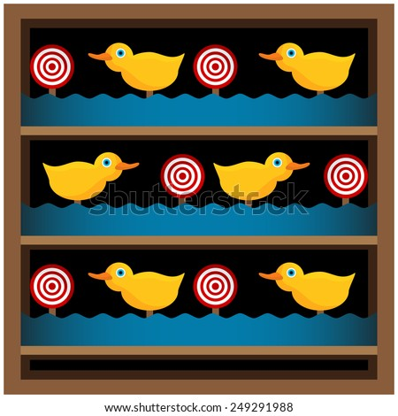 An image of a duck shooting gallery. - stock vector