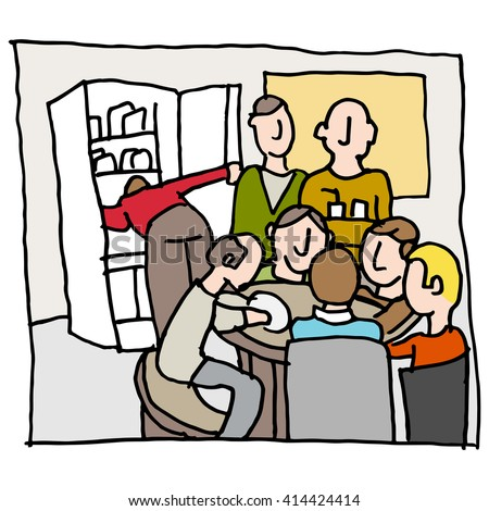 An image of a employees in a crowded break room. - stock vector