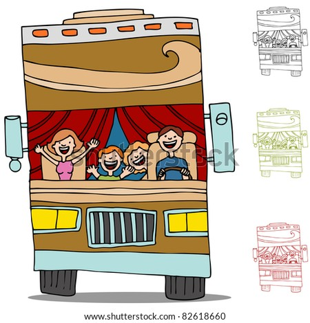 An image of a family on a road trip in an rv recreational vehicle. - stock vector