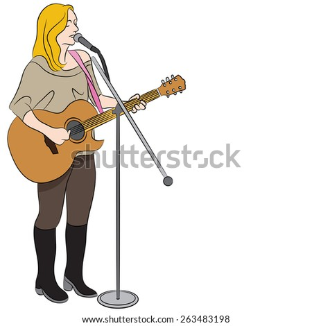 An image of a female country western singer. - stock vector