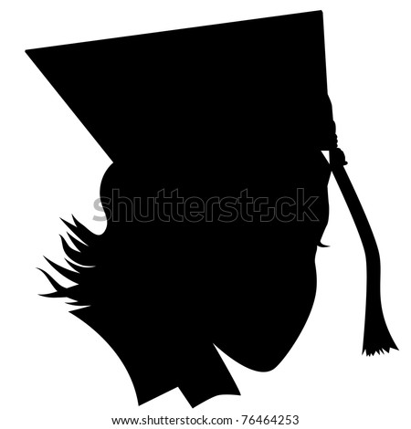 an image of a female graduate with hat silhouette