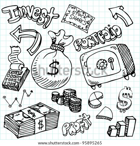 An image of a financial symbol doodle set. - stock vector