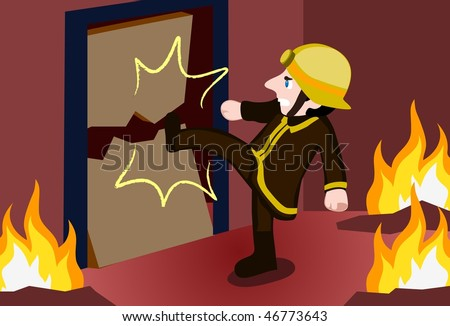 An image of a firefighter kicking down the door of a house in a burning building - stock vector