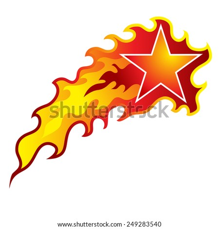 An image of a flaming shooting star. - stock vector