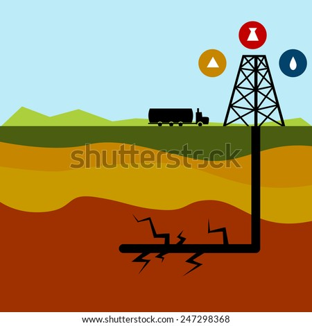 An image of a fracking diagram. - stock vector