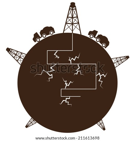 An image of a fracking process globe. - stock vector
