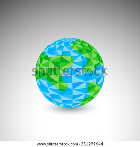 An image of a globe icon - polygon style. - stock vector