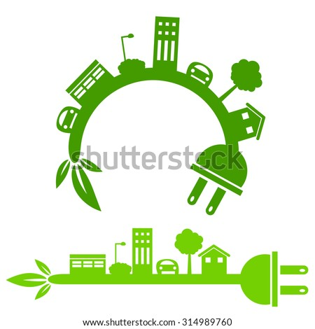 An image of a green energy city icon.