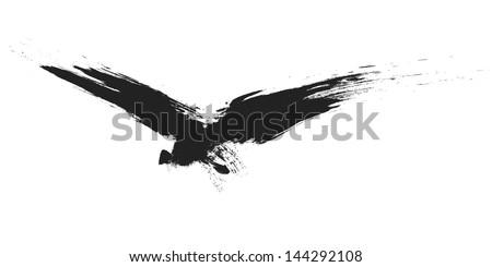 An image of a grunge black bird - stock vector
