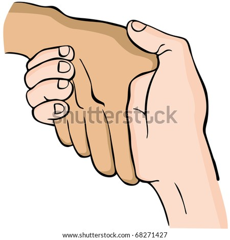 An image of a handshake. - stock vector