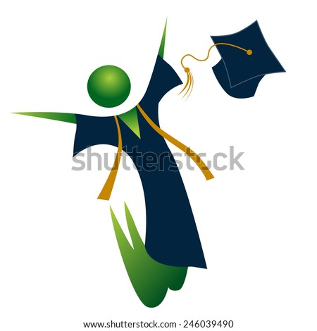 An image of a happy graduate. - stock vector