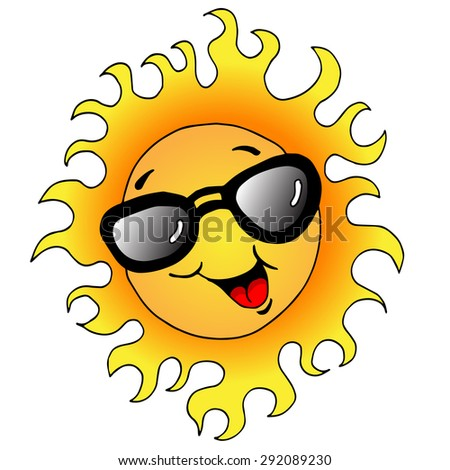 An image of a happy sun wearing sunglasses.