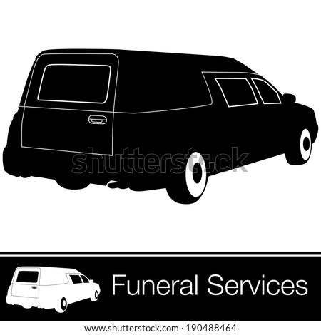 An image of a hearse. - stock vector