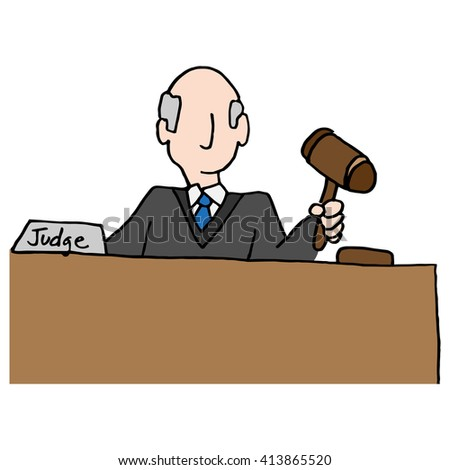 An image of a judge holding gavel. - stock vector