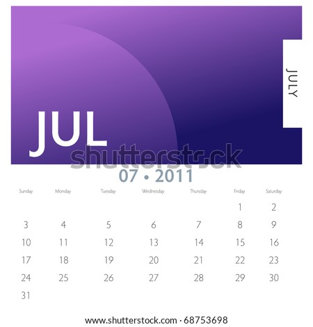 An image of a 2011 July calendar. - stock vector