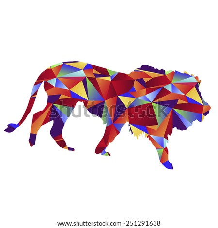 An image of a lion - polygon style. - stock vector