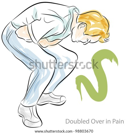 An image of a man doubled over in stomach pain. - stock vector
