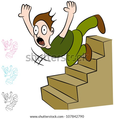 An image of a man falling down a flight of stairs. - stock vector