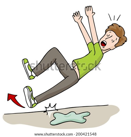 An image of a man sliipping on a wet floor. - stock vector