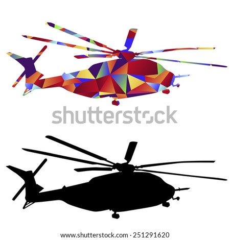 An image of a military helicopter - polygon style. - stock vector