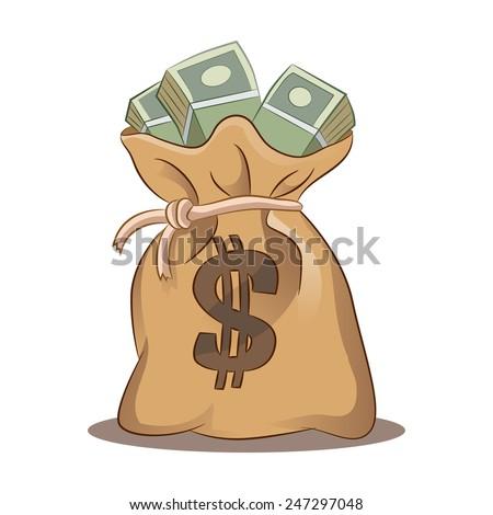 An image of a money bag. - stock vector