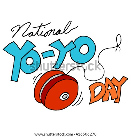 An image of a national yoyo day - stock vector