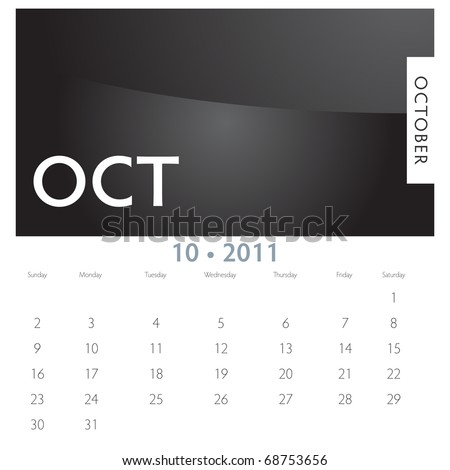 An image of a 2011 October calendar. - stock vector