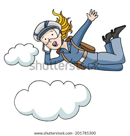 An image of a parachute business woman. - stock vector