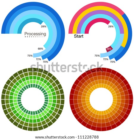 An image of a processing wheel chart set. - stock vector