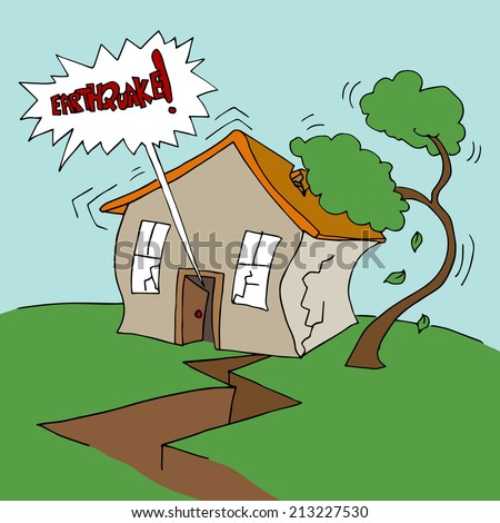 An image of a residential earthquake event. - stock vector