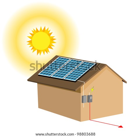 An image of a residential solar panel system. - stock vector
