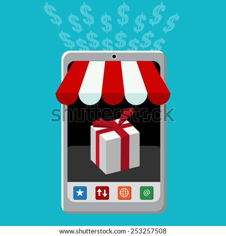 An image of a retail mobile purchase icon. - stock vector