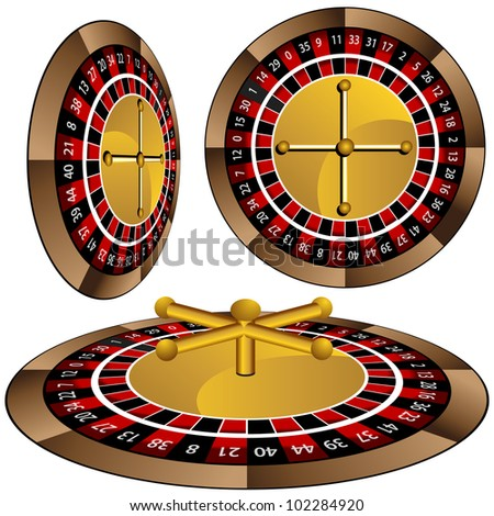 An image of a roulette wheel set. - stock vector