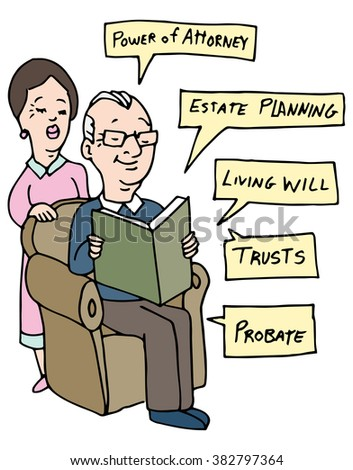 An image of a senior couple researching Estate Planning ideas. - stock vector