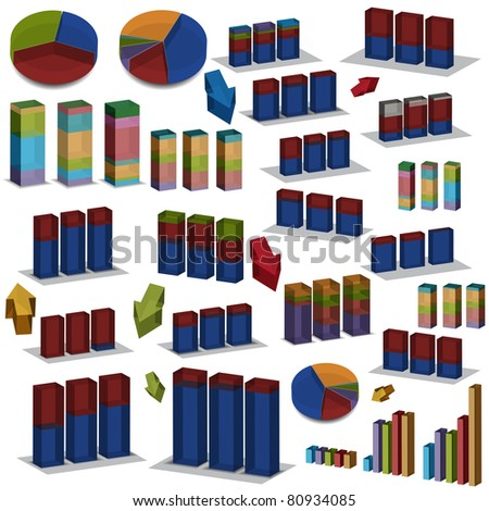 An image of a set of 3d pie and bar charts. - stock vector