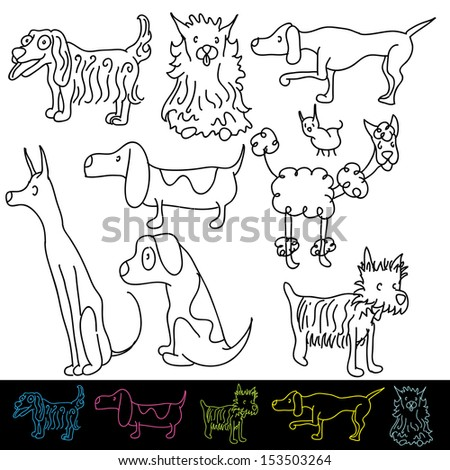An image of a set of dog breeds. - stock vector