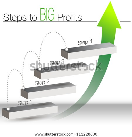 An image of a steps to big profits chart. - stock vector