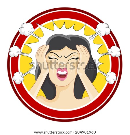 An image of a stressed girl. - stock vector