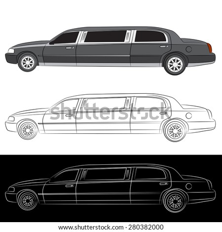 An image of a stretched limousine vehicle. - stock vector