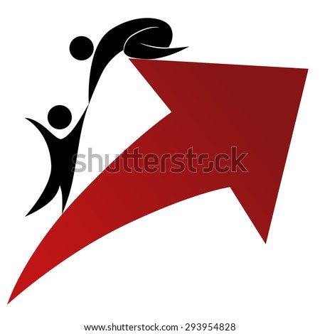 An image of a success and support icon. - stock vector