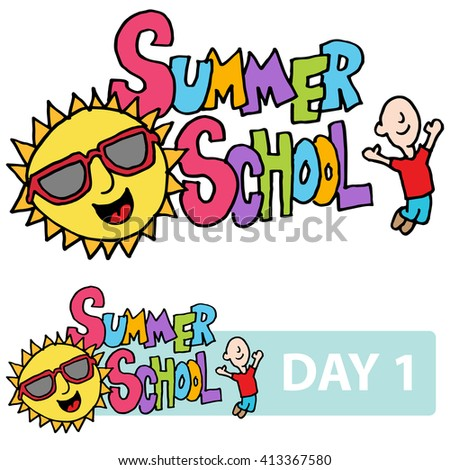 An image of a summer school son and student message. - stock vector