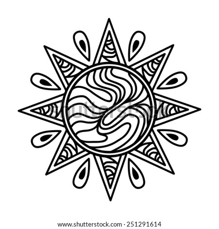 An image of a sun - zentangle style. - stock vector