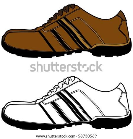 An image of a tennis shoe set. - stock vector