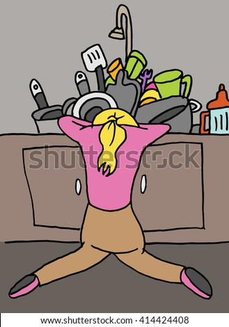 An image of a tired woman doing dishes.