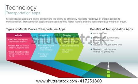 An image of a transportation apps information slide. - stock vector