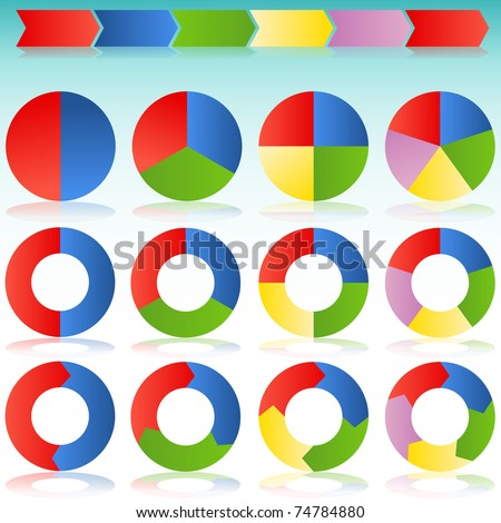 An image of a various colorful circle arrows with transparent drop shadows. - stock vector