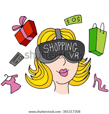 An image of a virtual reality shopping girl. - stock vector