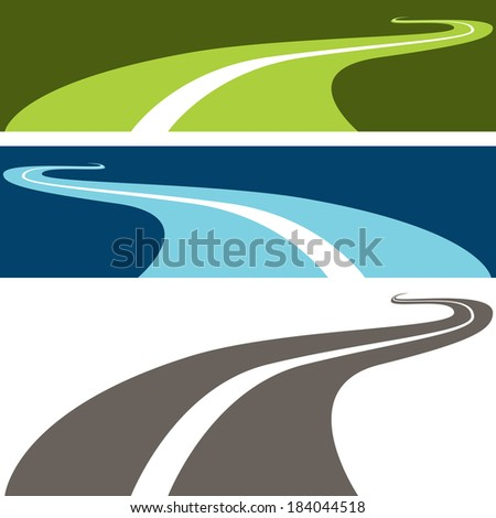 An image of a winding road. - stock vector