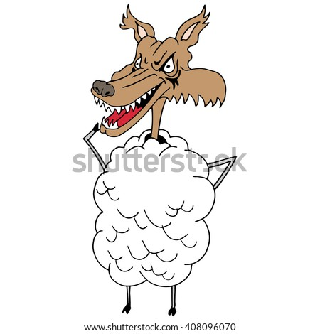 An image of a wolf in sheep's clothing. - stock vector