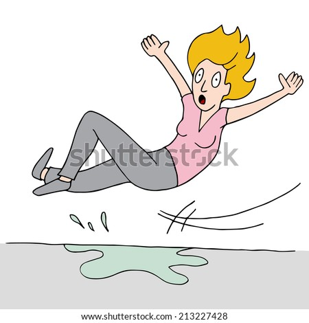 An image of a woman who slips on a wet floor. - stock vector